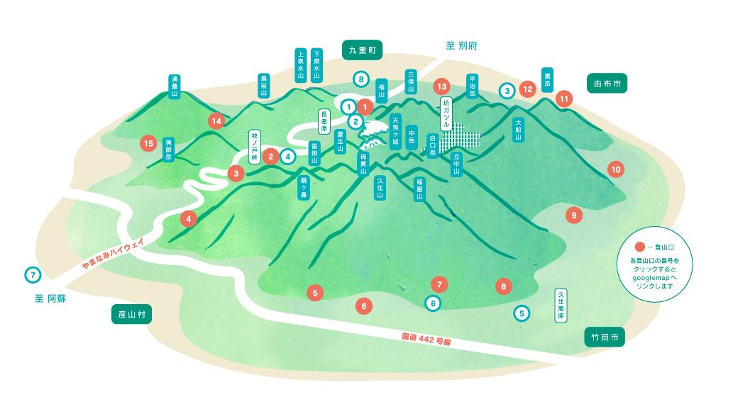 竹田市方面から見たマップ